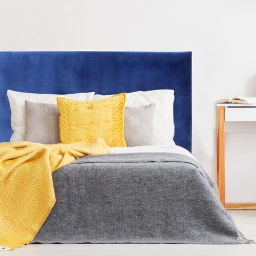 Royal Blue Velvet Smooth Upholstered Bedhead