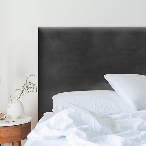 Charcoal Velvet Smooth Upholstered Bedhead