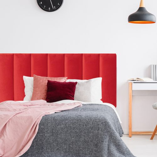 Bright Red Velvet Panelled Upholstered Bedhead