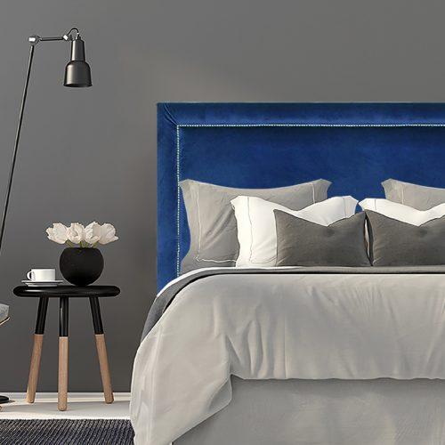 Royal Blue Velvet Studded Upholstered Bedhead