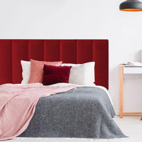 Red Red Wine Velvet Panelled Upholstered Bedhead