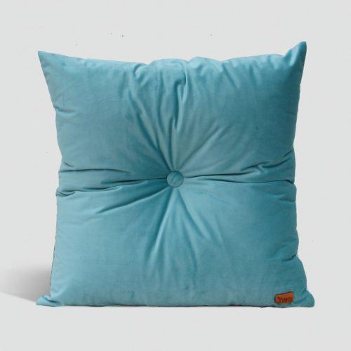 Velvet Cushion with Centre Button Detail | 41 x 41cm | Light Blue