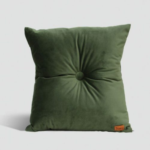 Velvet Cushion with Centre Button Detail   41 x 41cm   Olive Green