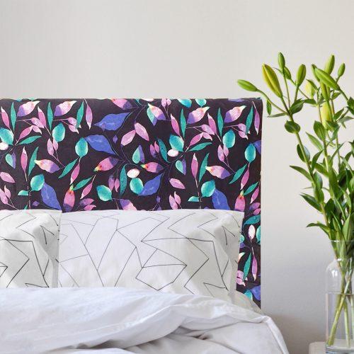 Leafy Velvet Smooth Upholstered Bedhead